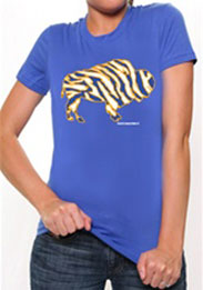 Crazy Buffalo Gold on Royal mens t-shirt