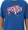 Crazy Buffalo Red on Royal mens t-shirt