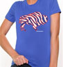 Crazy Buffalo red on royal ladies t-shirt I love buffalo