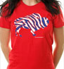 Crazy Buffalo football blue on red ladies t-shirt I love buffalo